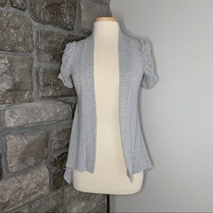 Seductions Grey Open Cardigan w/ Ruched Sleeves, Size XS